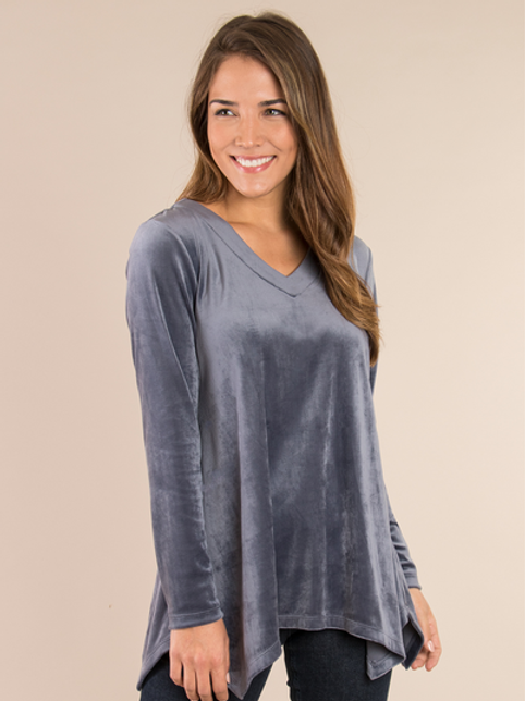 Simply Noelle Velvet Sharkbite Top
