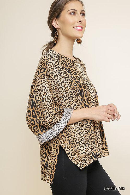 Umgee Jaguar Print Cuffed 3/4 Sleeve Top with Side Slits