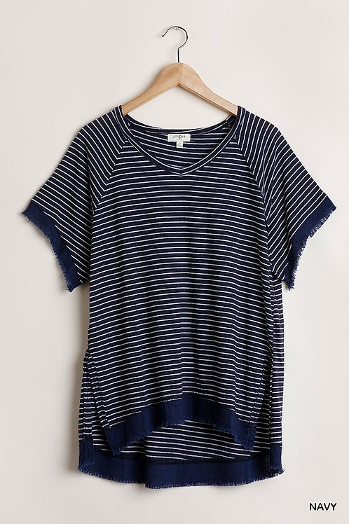 Umgee Striped Short Sleeve Top with Frayed Hem and Raw Edge Detail