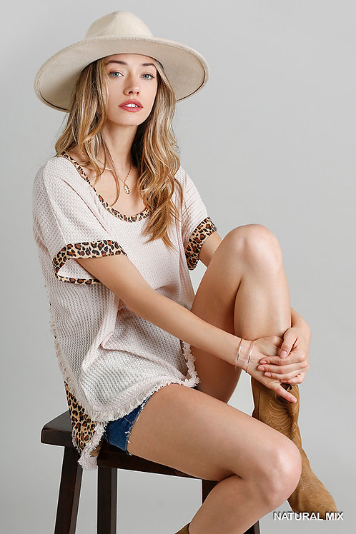 Umgee Back Animal Print Detail Waffle Knit Top with Frayed High Low Scoop Hem