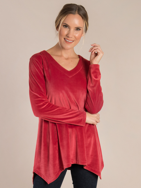 Simply Noelle Holiday Velvet Red Sharkbite Top