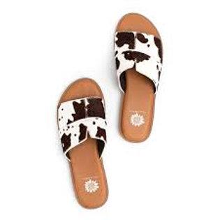 Bellenos Cow Print Sandals