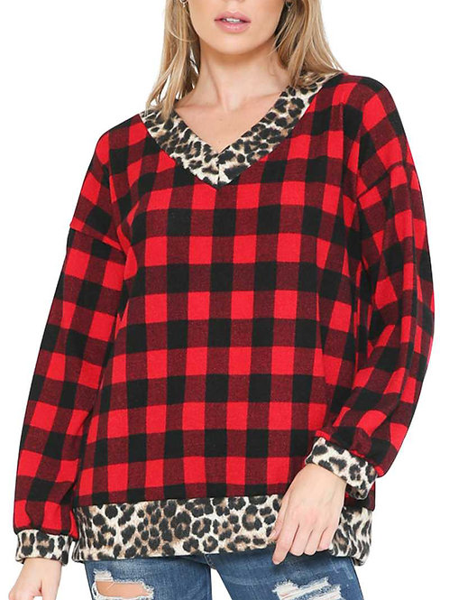 Red Animal PrintContrast Plaid Top