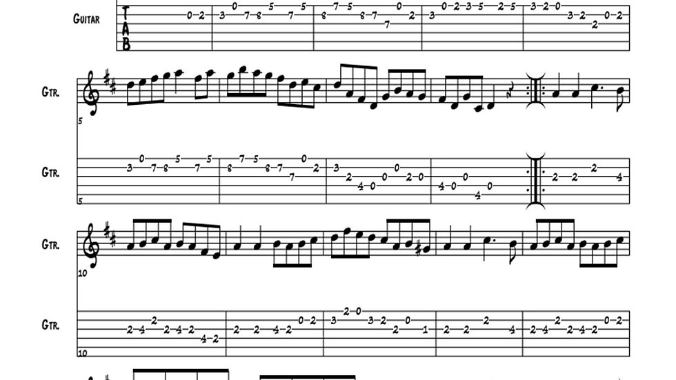 Forked Deer for Open Position Guitar (Key of D)