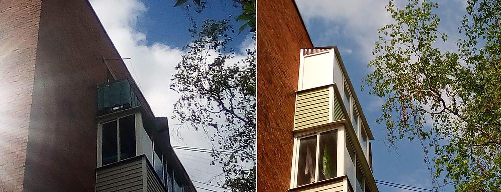 Остекление балкона с крышей на 5 этаже в Серпухове