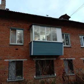 Остекление балкона с выносом в Серпухове на ул. Центральная
