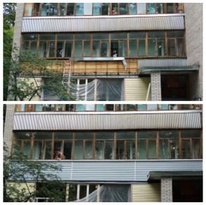 Внешняя отделка балкона сайдингом в Протвино