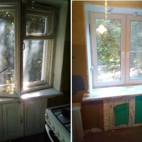 Установка окна Рехау и холодильника под окном