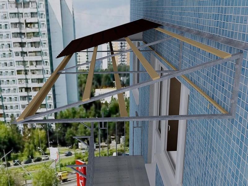 козырек балкона последнего этаж