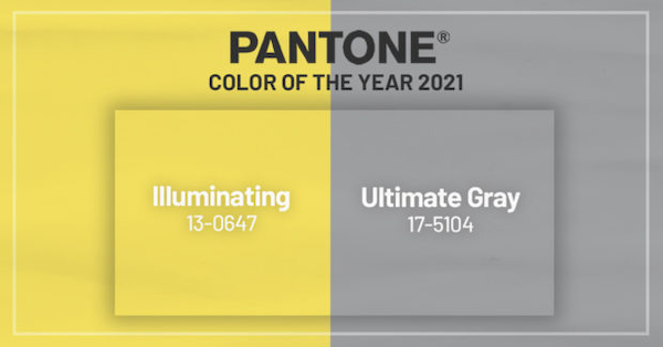 2021 Pantone Colors of the year Illuminating and Ultimate Grey