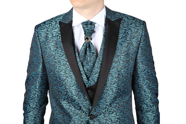 groom wearing a bold green patterned tuxedo reflecting the new trend toward including Netflix hit show Bridgerton in New York City weddings
