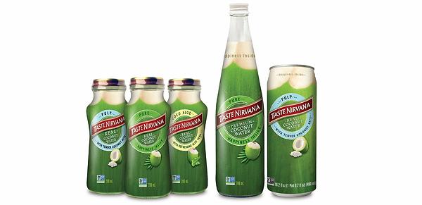 Taste Nirvana Coconut water range supplied by AIDA