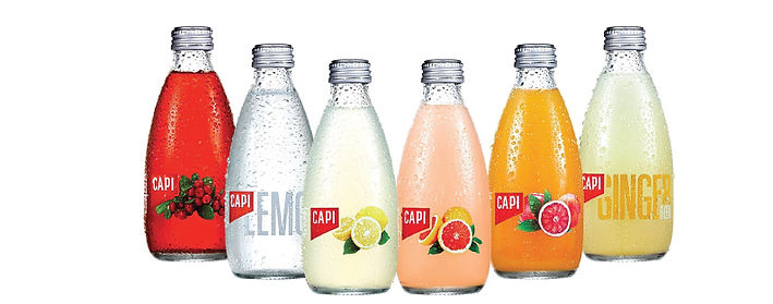 Capi Flavoured mineral water sparkling water range supplied by AIDA