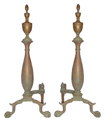 Tall Urn with Ball and Claw Brass Andirons