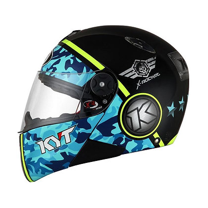Helm Full Face KYT X Rocket Retro 3 Black Blue Yellow Fluo SH705