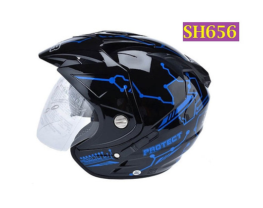 Helm MSR Impressive Double Visor Protect Hitam Biru Helm Open Face - SH656