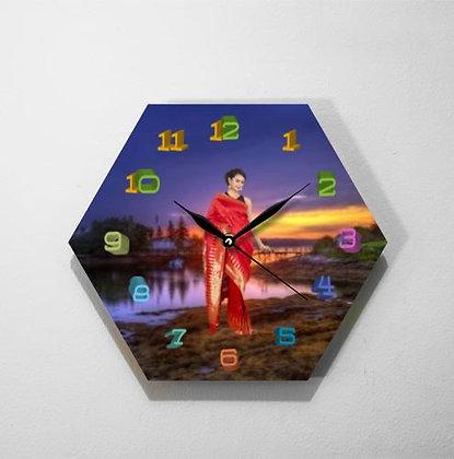 Jam Dinding Kayu Hexagon Custom CL9505