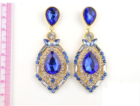Anting Batu Imitasi Ocean Blue Sapphire - ER049