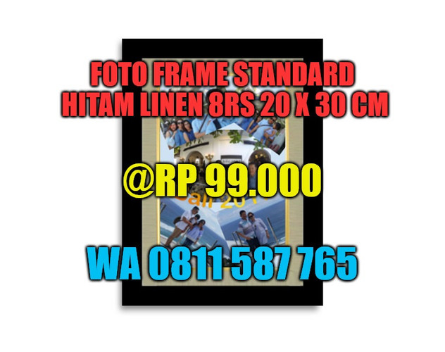 Photo Frame Hitam Linen 8RS - Portrait -