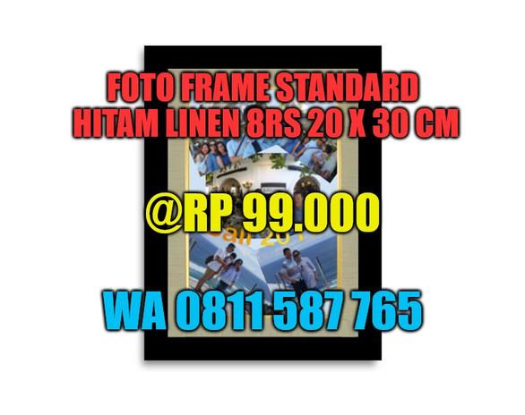 Photo Frame Hitam Linen 8RS - Portrait -