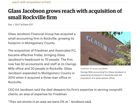 Glass Jacobson grows reach with acquisition of small Rockville firm