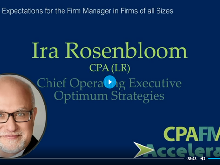 Video: The Right Expectations for Firm Managers (CPAFMA webinar)