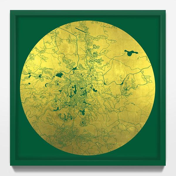 Mappa Mundi Jerusalem - Green UV treated ink on 24 Carat Gold leaf - 56 x 56 cm.jpeg