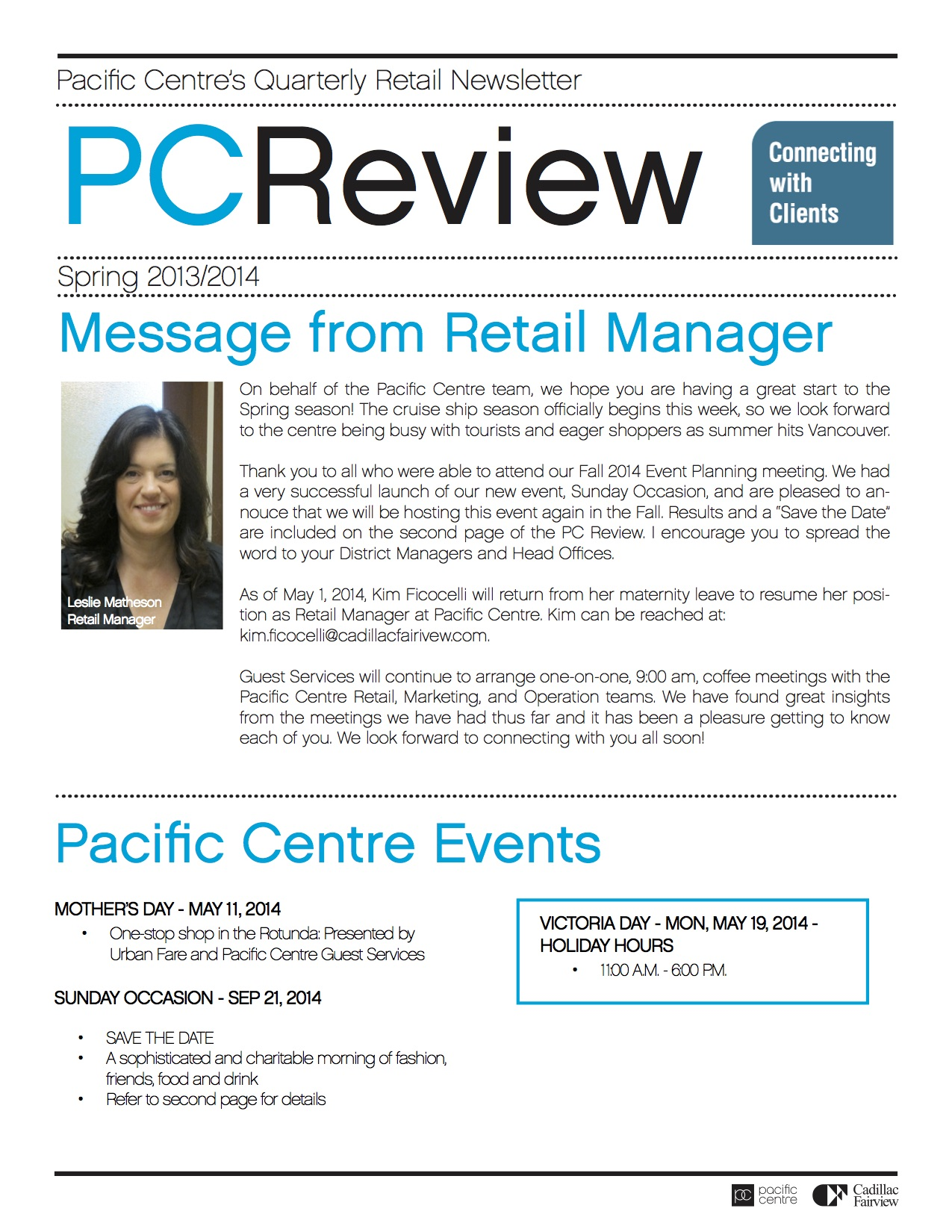 Pacific Centre's Newsletter CRM
