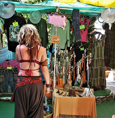 hippy girl in market, Ibiza, peace, calm