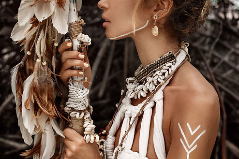Attractive wild boho woman close up port