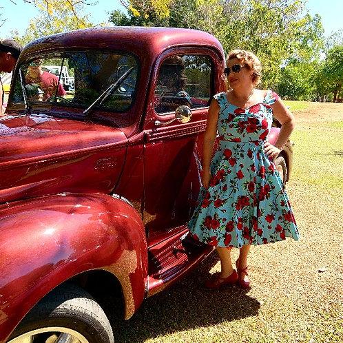 50s Ditsy Blue Rose Dress