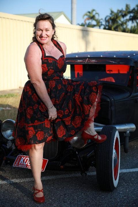 Black & Red Floral Retro Dress