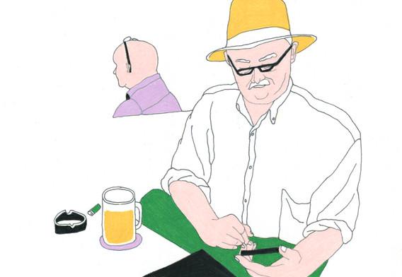 할아버지,테이블위,대머리아저씨뒷모습