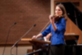 Marlene Colburn playing violin at Centerville concert