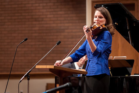 Marlene Colburn playing violin at Centerville concert