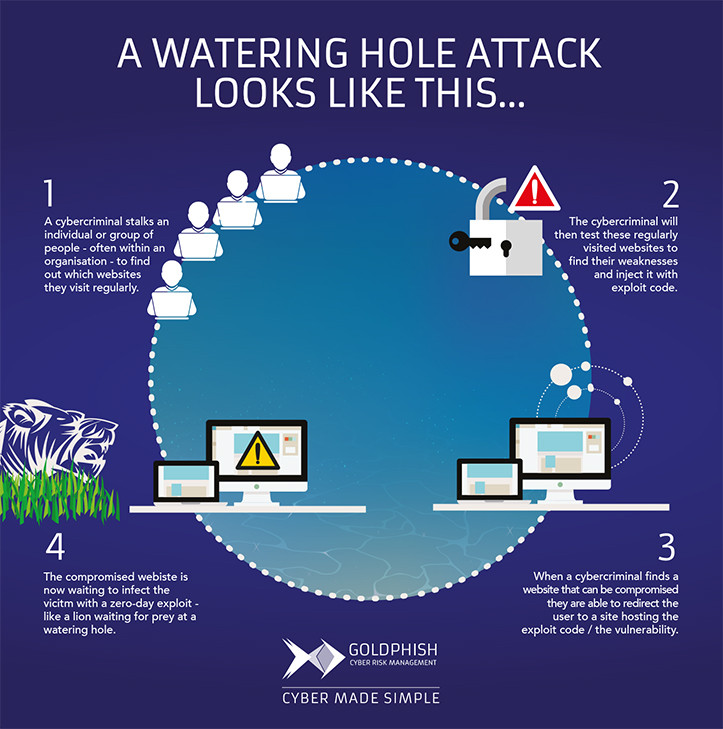 Watering hole attack infographic - GoldPhish