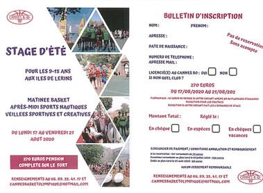 INSCRIPTIONS STAGES D'ÉTÉ /ANNULE