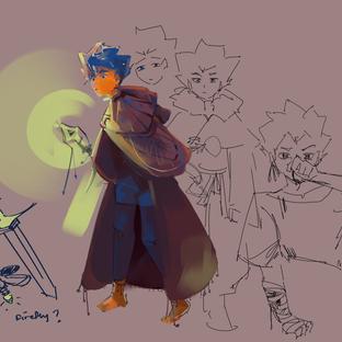 concept drawings of a new original character, Dorian :]