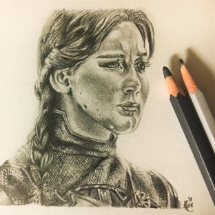 Graphite drawing of Katniss from Mockingjay: Part 2