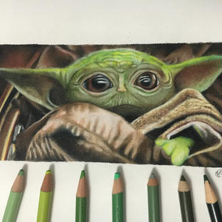 """Coloured pencil drawing of """"Baby Yoda"""" from The Mandalorian"""