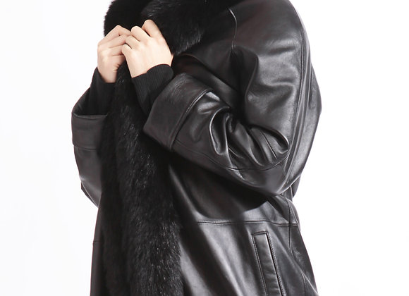 Full-Length Lambskin Leather Coat with Fox Fur Collar