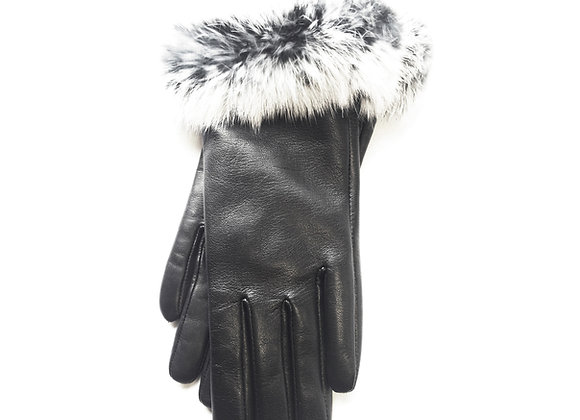 Classic Fur Gloves -Black/White