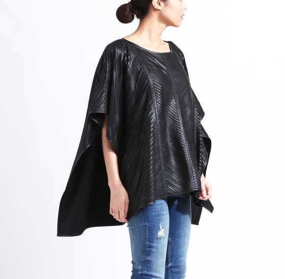 Jessica - vegan leather poncho