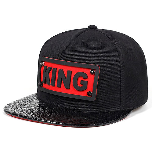 Fashion Summer Men Baseball Cap Hip Hop Hats Pu Leather Flat Eaves Hat 3D KING