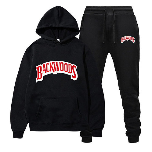 Fashion Brand Backwoods Men's Set Fleece Hoodie Pant Thick Warm Tracksuit