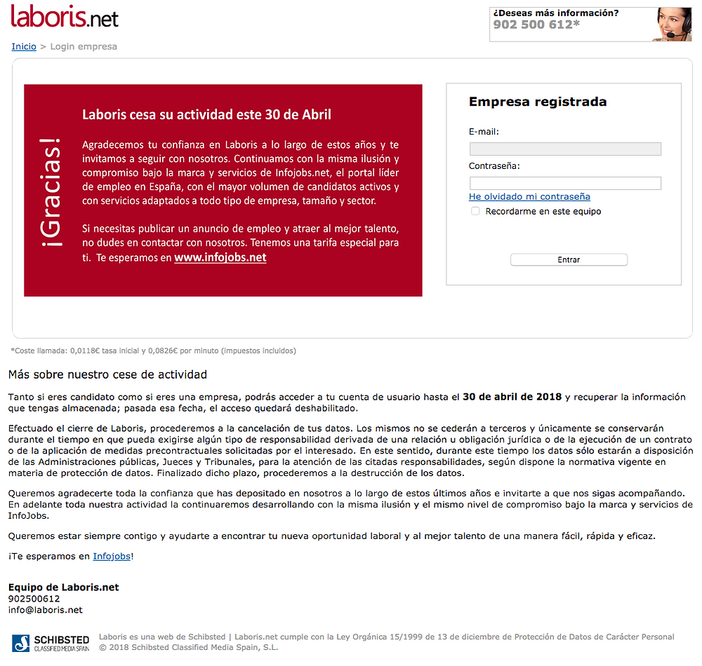 Laboris.net cierra