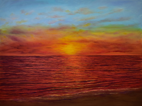 "Glimmering Sunset | 48""x36"""