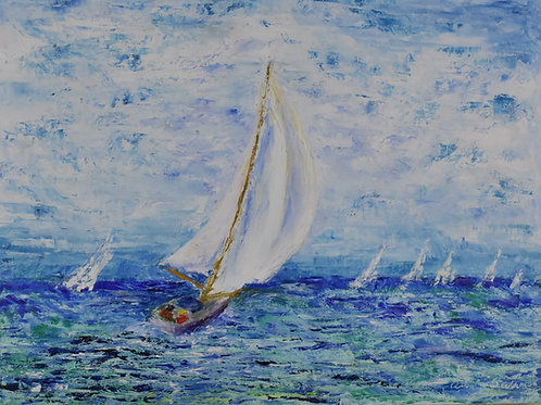 "Sailboat Race | 24""x18"""