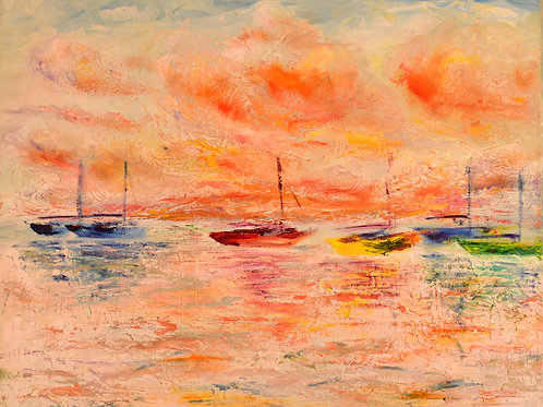 "Sailboats at Sunset | 20""x16"""