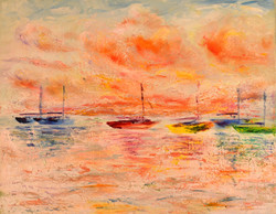 Sailboats at Sunset 20x16 2017